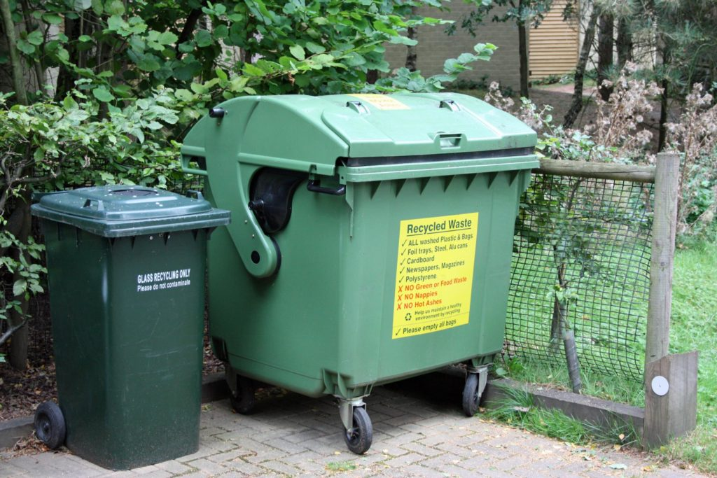 dumpster for the recycled trash