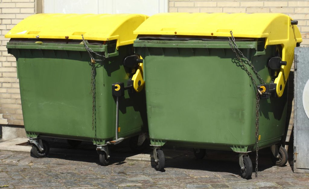 dumpster with metal lock